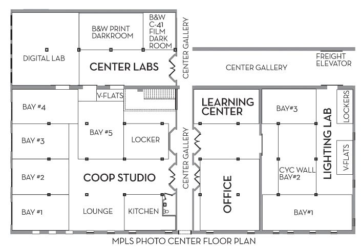 Mpls photo center about mpc darkrooms for Photography studio floor plans